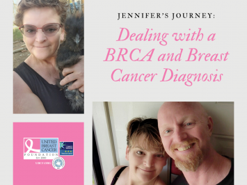 Pictured is Jennifer with her husband and chicken. She has dealt with a BRCA and breast cancer diagnosis.