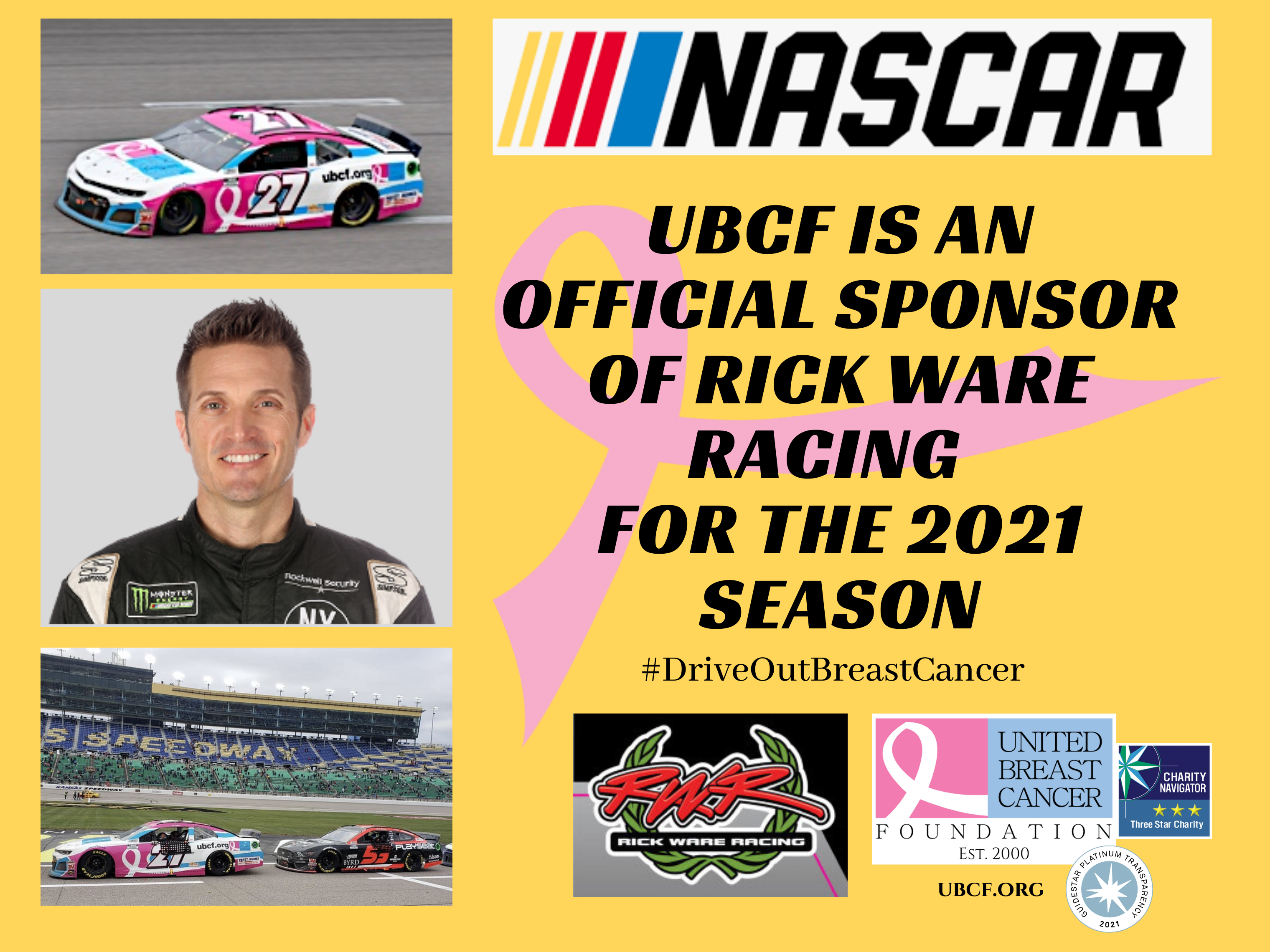 UBCF Partners with JJ Yeley and Rick Ware Racing for 2021 NASCAR Season #DriveOutBreastCancer
