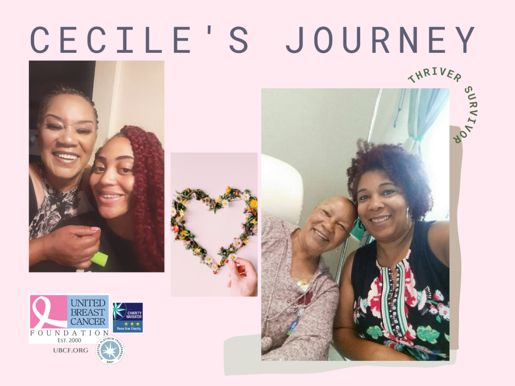 Cecile, a woman with triple negative breast cancer, surrounded by her loving family