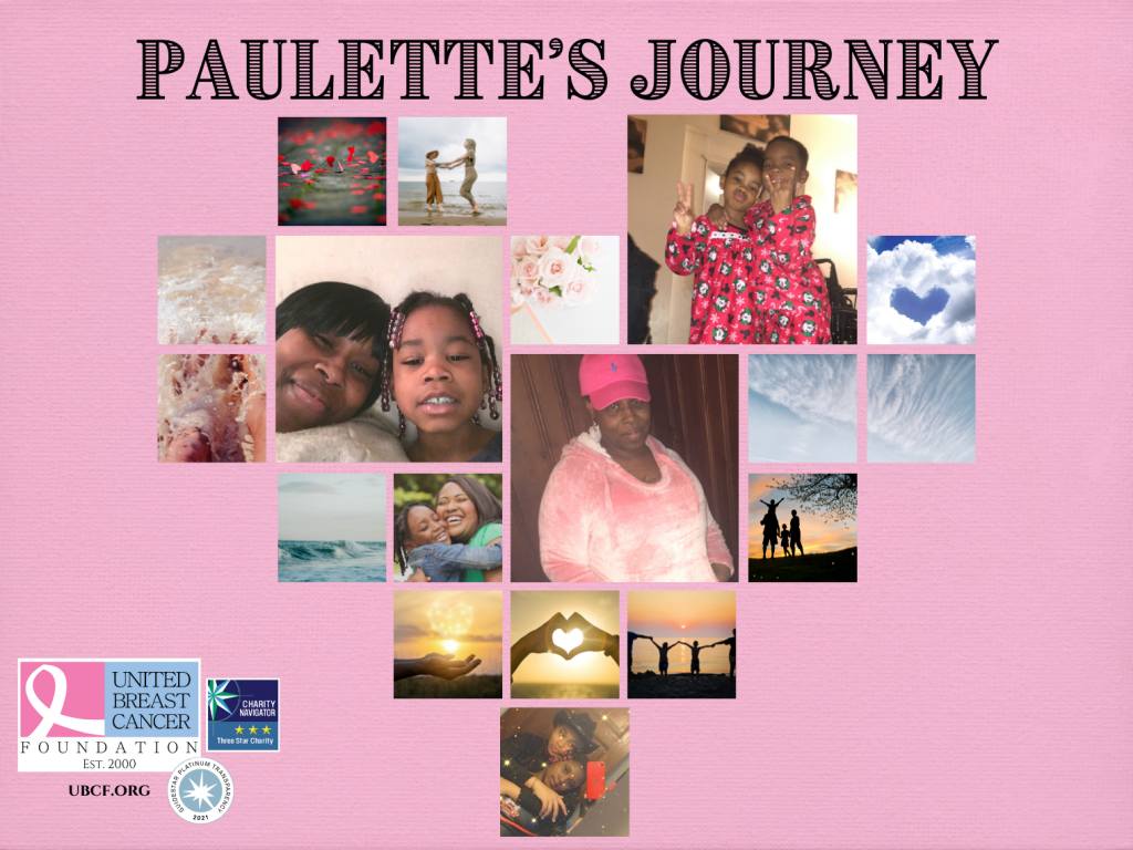 A collage of Paulette and her family in the shape of a heart.