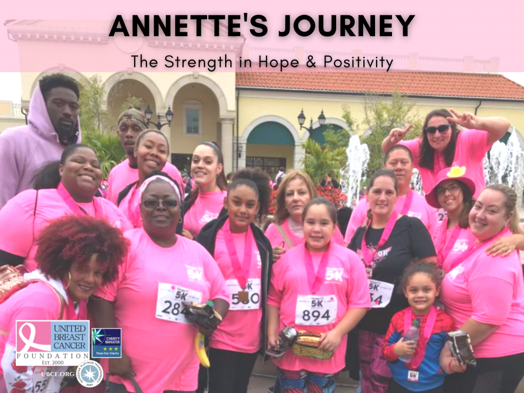 Annette staying positive and having hope with her family at a breast cancer awareness walk.